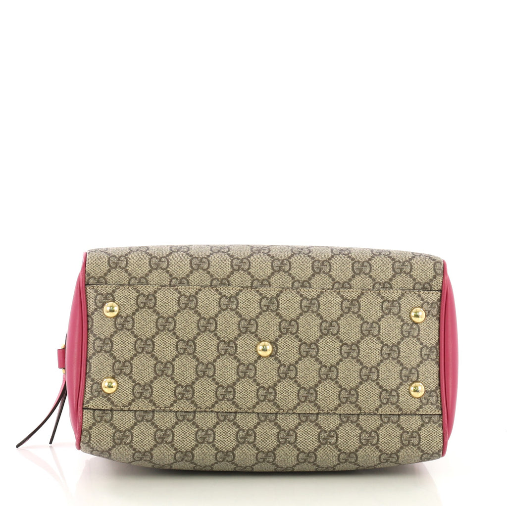 3bcc46bef304 Gucci Convertible Boston Bag GG Coated Canvas and Leather 412999 – Rebag