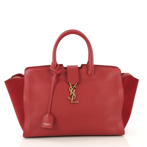 89f022c5b76 Saint Laurent Monogram Cabas Downtown Leather Small Red 413131 – Rebag