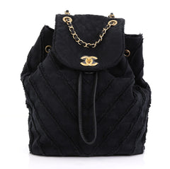 Chanel Model: Drawstring Backpack Chevron Canvas Patchwork Medium Black 41319/1