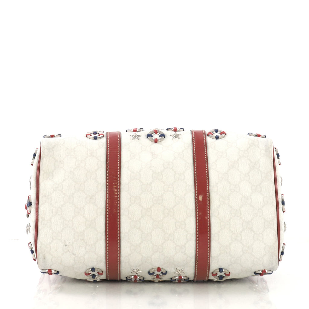 308518f03eefb8 Gucci Joy Boston Bag Embellished Coated Canvas Medium White 413492 ...