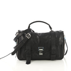 Proenza Schouler PS1+ Zip Satchel Leather Medium Black 413572