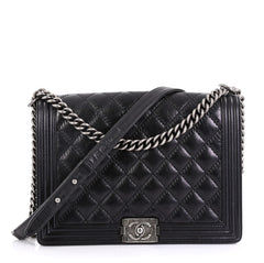 Chanel Model: Double Stitch Boy Flap Bag Quilted Calfskin Large Black 41358/1