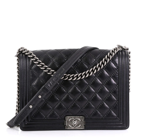 d2bdd3d9cfdf74 Chanel Double Stitch Boy Flap Bag Quilted Calfskin Large 413581 – Rebag