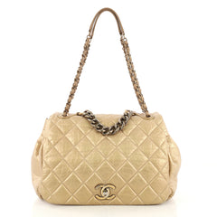 Chanel Pondichery Flap Bag Quilted Aged Calfskin Large Gold 413711