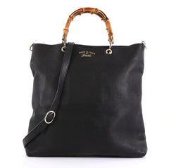 Gucci Bamboo Shopper Tote Leather Tall Black 413741