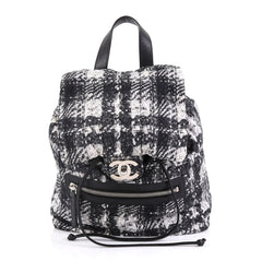 Chanel Model: Front Zip Backpack Printed Nylon Small Black 41377/1
