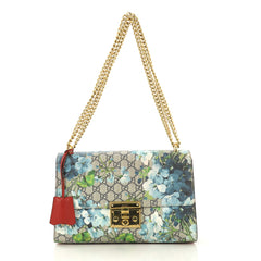Gucci Padlock Shoulder Bag Blooms Print GG Coated Canvas Medium