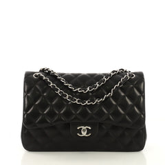 Chanel Classic Double Flap Bag Quilted Lambskin Jumbo Black 413911