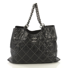 Chanel Chain CC Cabas Stitched Glazed Calfskin Medium Black 414062