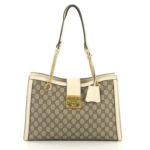 3a61d5b1dbe Gucci Padlock Chain Tote GG Coated Canvas Medium Brown 414091 – Rebag