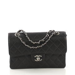 Chanel Vintage Classic Double Flap Bag Quilted Caviar Small 414122