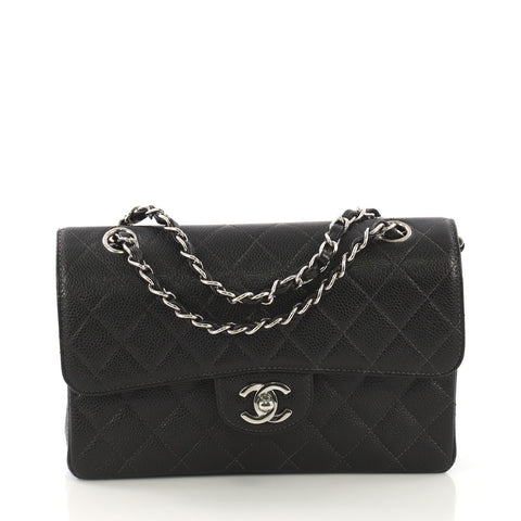 cb03757a5d09 Chanel Vintage Classic Double Flap Bag Quilted Caviar Small 414122 – Rebag