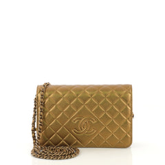Chanel Diamond CC Wallet on Chain Quilted Lambskin Gold 414123