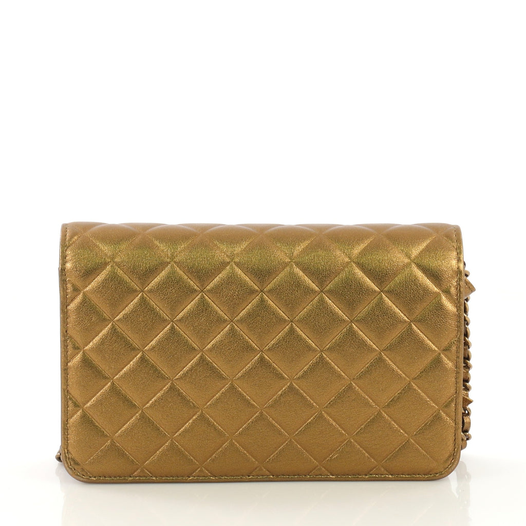 41f149467f3b Chanel Diamond CC Wallet on Chain Quilted Lambskin Gold 414123 – Rebag