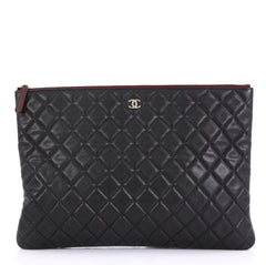 Chanel O Case Clutch Quilted Caviar Large Black 414247