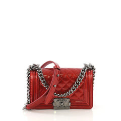 Chanel Boy Flap Bag Quilted Patent Small Red 414251