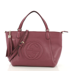 Gucci Soho Convertible Top Handle Bag Leather Small Purple 414285