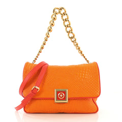 Versace New Icon Flap Bag Barocco Leather Medium Orange 414287