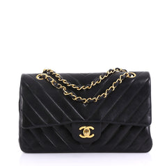 Chanel Vintage Classic Double Flap Bag Chevron Lambskin 4143311