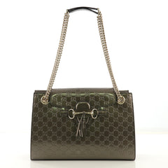 Gucci Emily Chain Flap Shoulder Bag Guccissima Patent Large 4143319