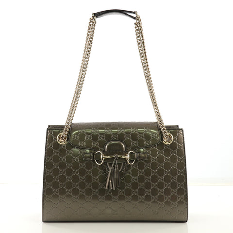 044808e8ccaf62 Gucci Emily Chain Flap Shoulder Bag Guccissima Patent Large 4143319 – Rebag