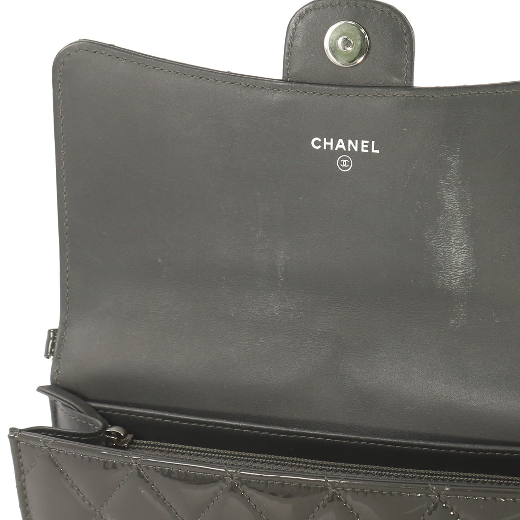 87d41344e13190 Chanel Wallet With Chain Flap Quilted Patent Small Gray 4143328 – Rebag