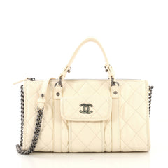 Chanel Casual Riviera Bowling Bag Quilted Calfskin Medium 4143329