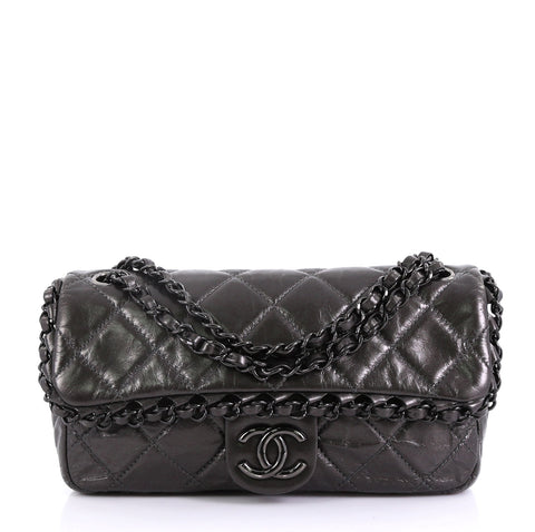 0ecf525a6994 Chanel Chain Me Flap Bag Quilted Calfskin Medium Gray 4143345 – Rebag