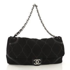 9030a192e27ee Chanel Rodeo Drive Flap Bag Quilted Microsuede Large Black 414371