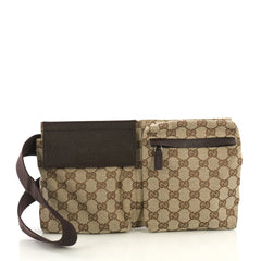 Gucci Vintage Double Belt Bag GG Canvas Brown 414582