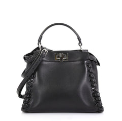 Fendi Peekaboo Bag Whipstitch Leather Mini - Rebag