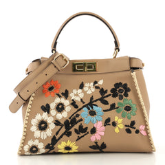 Fendi Peekaboo Bag Embroidered Leather Regular - Rebag