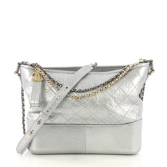 Chanel Gabrielle Hobo Quilted Aged Calfskin Medium Silver 414865