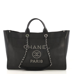 Chanel Deauville Chain Tote Studded Caviar Large Black 414866