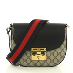 Gucci Padlock Saddle Shoulder Bag GG Coated Canvas and 414867