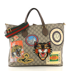 Gucci Courrier Convertible Soft Open Tote GG Coated Canvas 414868