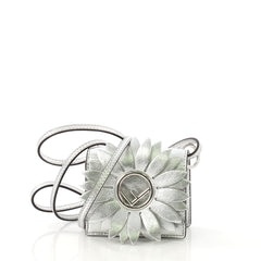 Fendi Flower Kan I F Bag Leather Micro Silver 4148812