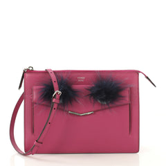 Fendi Monster Front Pocket Clutch Leather with Fur - Rebag