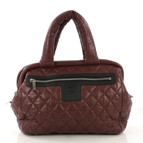 ccc1c994894c33 Chanel Coco Cocoon Bowling Bag Quilted Lambskin Medium Red 4149917 – Rebag