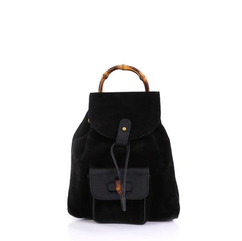 Gucci Vintage Bamboo Backpack Suede Mini Black 4150711 – Rebag