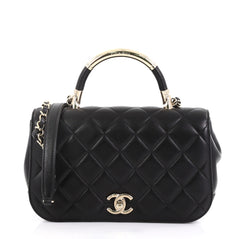 Chanel Carry Chic Flap Bag Quilted Lambskin Small Black 4150716