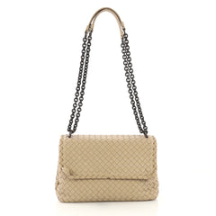 Bottega Veneta Olimpia Crossbody Bag Intrecciato Nappa Small Neutral 415075