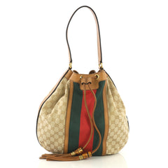 Gucci Rania Shoulder Bag Web GG Canvas Neutral 415134