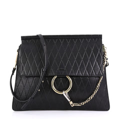Chloe Faye Shoulder Bag Embossed Leather Medium Black 415141