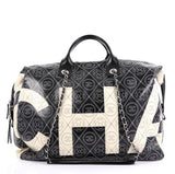 Chanel Logo Bowling Bag Printed Coated Canvas Large Black 415152