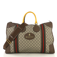 Gucci Web Convertible Duffle Bag GG Coated Canvas Large Neutral 415155