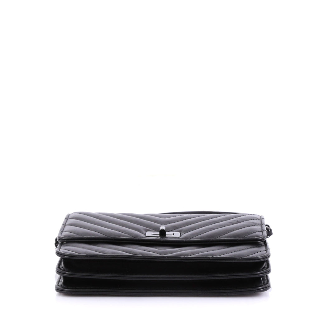 d53cf7f0f52dcf Chanel So Black Reissue Square Wallet on Chain Chevron Aged 4151711 ...