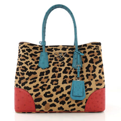 Prada Cuir Double Tote Printed Calf Hair with Ostrich Brown 4151718