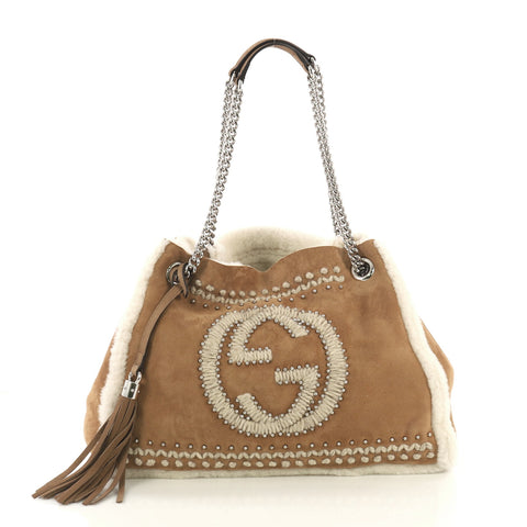 aa155f932cc Gucci Soho Chain Strap Shoulder Bag Studded Suede with 4151725 – Rebag