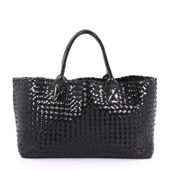 Bottega Veneta Cabat Tote Intrecciato Patent Medium Black 415174